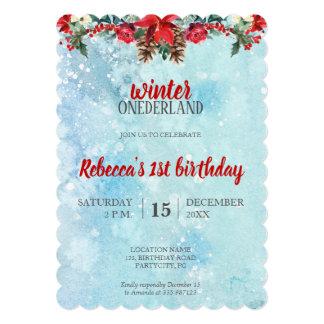 Snow Floral Winter ONEderland 1st birthday Card