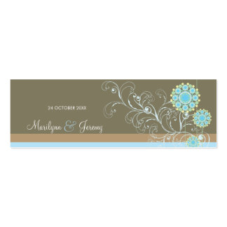 Snow Flower Swirls Blue Custom Thank You Gift Tag Pack Of Skinny Business Cards