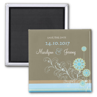 Snow Flower Swirls Blue Save The Date Magnet