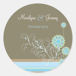 Snow Flower Swirls Blue Thank You / Gift Sticker Stickers