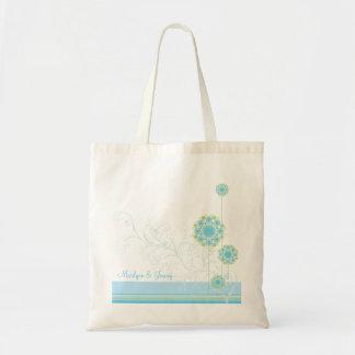 Snow Flower Swirls Blue Wedding Custom Gift Bag