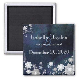 Snow Flowers Blue Winter Wedding Save the Date Square Magnet