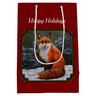 Snow Fox Festive Holiday Red Medium Gift Bag