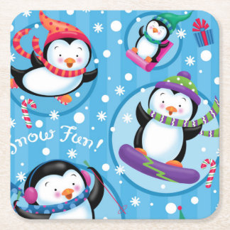 Snow Fun Penguins Coaster