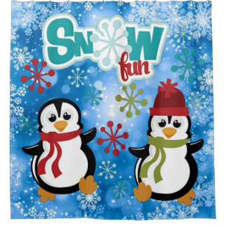 Snow Fun Penguins Shower Curtain