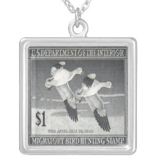 Snow Geese Postage Stamp Necklace