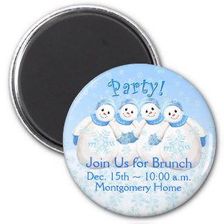Snow Girls Christmas Brunch Invitation Magnet