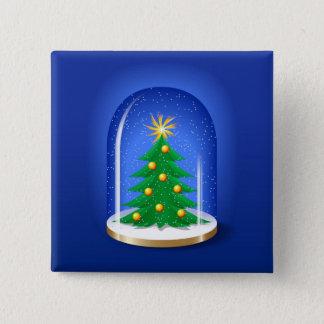 Snow Globe 15 Cm Square Badge