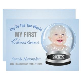 Snow Globe Blue Boy Baby's 1st Christmas Photo Card