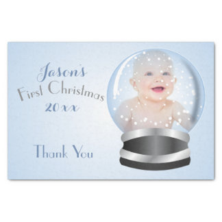 Snow Globe blue boy Baby's 1st Christmas Photo Tissue Paper