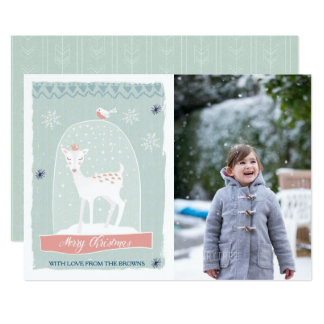 Snow Globe Deer|Merry Christmas Photo Card