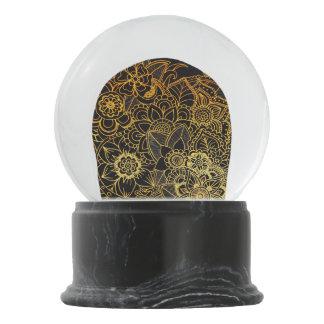 Snow Globe Floral Doodle Gold G523
