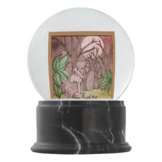 snow globe forest back with wolf snow globes