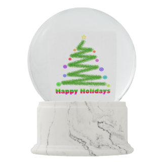 SNOW GLOBE - HAPPY HOLIDAYS CHRISTMAS TREE DESIGN SNOW GLOBES