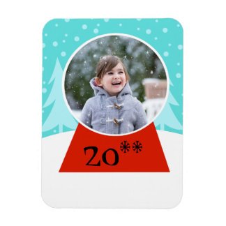 Snow Globe Holiday Flexible Photo Magnet