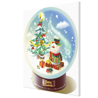 Snow globe with snowman and Christmas tree Stretched Canvas Print