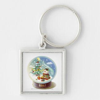 Snow globe with snowman and Christmas tree Silver-Colored Square Key Ring