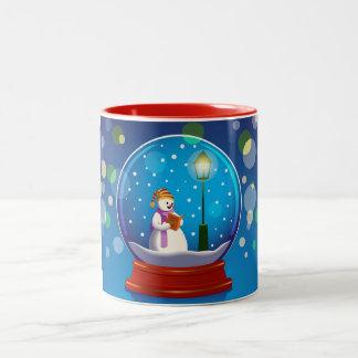 Snow globe with snowman singing Two-Tone coffee mug