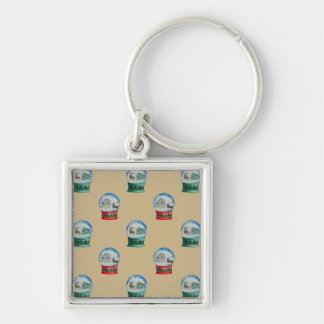 Snow Globes Mixed Pattern Christmas Gold Backdrop Silver-Colored Square Key Ring