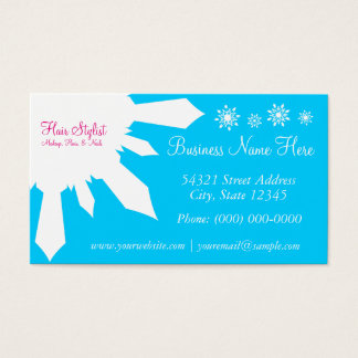Snow Hair Stylist Snowflake Patter Business Cards