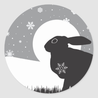 SNOW HARE CLASSIC ROUND STICKER