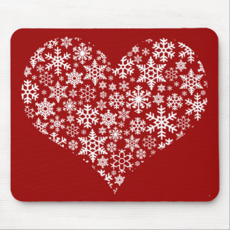 Snow Heart Red - mousepad