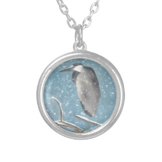 Snow Heron Silver Plated Necklace