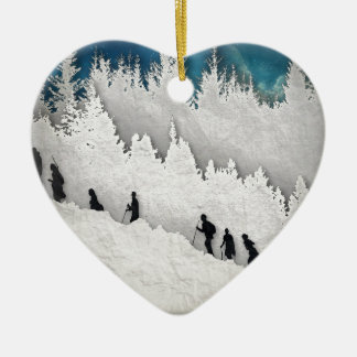 Snow Hike II Ceramic Heart Decoration