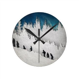 Snow Hike II Round Clock