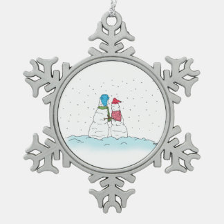 Snow In Love Snowflake Pewter Christmas Ornament