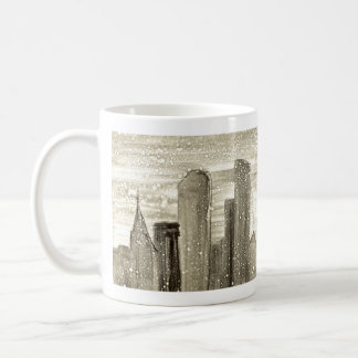 Snow in the City Abstract Art Sepia Grey and White Coffee Mug