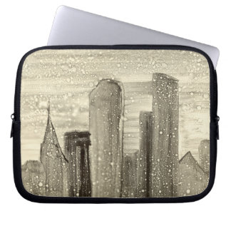 Snow in the City Abstract Art Sepia Grey and White Laptop Sleeve