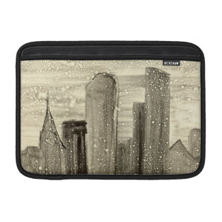 Snow in the City Abstract Art Sepia Grey and White Sleeves For MacBook Air