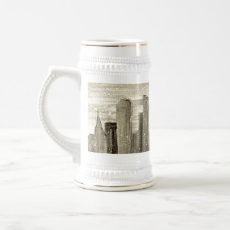 Snow in the City Abstract Monotype Print Beer Steins