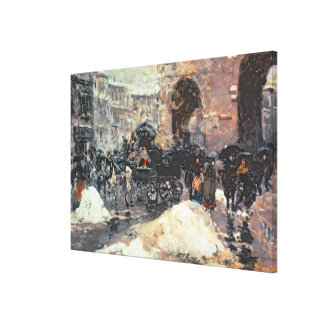 Snow in the City Stretched Canvas Print
