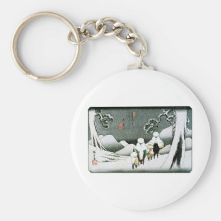 Snow in the Mountains of Ancient Japan c. 1800's Basic Round Button Key Ring