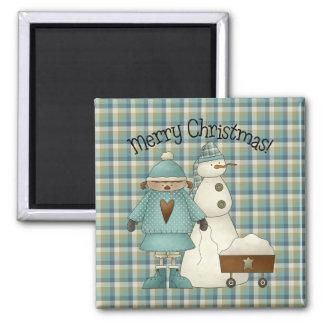 Snow Kids Christmas Magnet