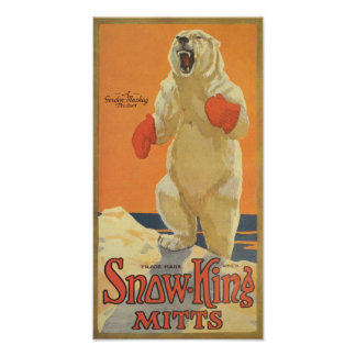 Snow King Mitts Vintage Advertising Poster