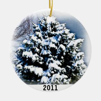Snow Laden Evergreen 2011 Ornament