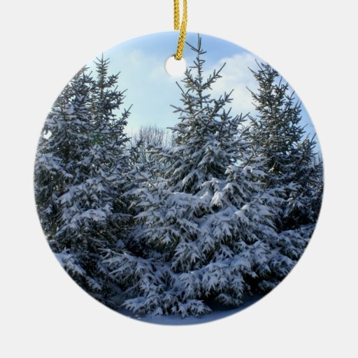 Snow Laden Evergreen Grouping Christmas Ornament