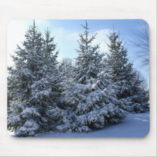 Snow Laden Evergreen Grouping Mouse Pad
