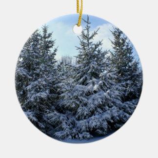 Snow Laden Evergreen Grouping Round Ceramic Decoration