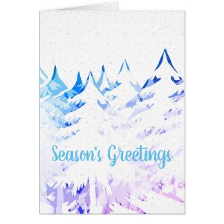 Snow Laden Trees Blue Purple White Christmas Card