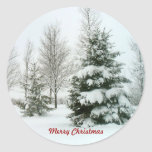 Snow-Laden Trees, Merry Christmas Round Stickers