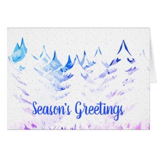 Snow Laden Trees Purple Blue Aqua White Christmas Card
