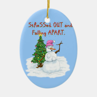 Snow lady stressed out and falling apart ceramic oval decoration