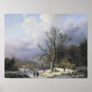 Snow Landscape, Alexander Joseph Daiwaille, 1845 Poster