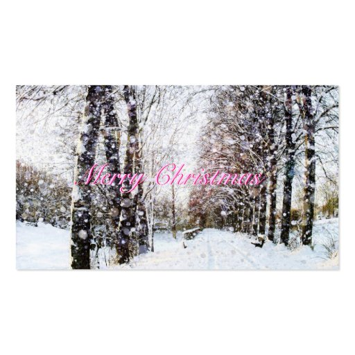 Snow Landscape Merry Christmas Pink Gift Tags Business Card Template