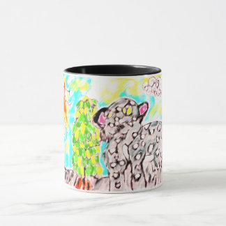 snow leopard art mug