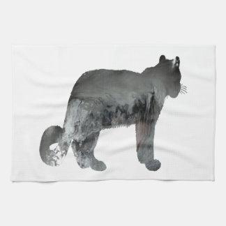 Snow leopard art tea towel